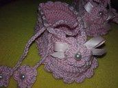 Scarpine neonata anche per occasione battesimo all'uncinetto con perline cotone da 0 a 6 mesi