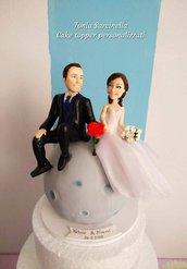 Cake topper sposi sulla luna