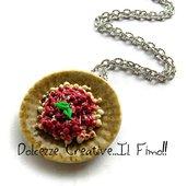 Collana piatto gnocchi al pomodoro con basilico - miniature - handmade idea regalo in fimo e cernit