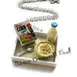 Collana colazione tazza latte e cereali - con cucchiaino in argento tibetano - miniature kawaii handmade