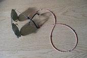 catena per occhiali salmone e argentata