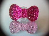 Tappo antipolvere per jack cuffie 3.5mm universale decorato con fiocco glitter rosa fucsia / chiaro a scelta