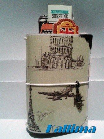 Astuccio per Traveler' s  notebook  KALLIDORI stile vintage Viaggi fatta a mano in gomma eva   e carta stampata plastificata.