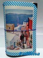 Astuccio per Traveler's notebook  KALLIDORI stile Santorini fatta a mano in gomma eva   e carta stampata plastificata.