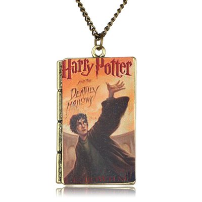 Ciondolo libro HARRY POTTER collana deathly hallows magia saga