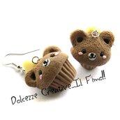 Orecchini cupcake al cioccolato - orso - Handmade idea regalo in miniatura - in fimo e cernit