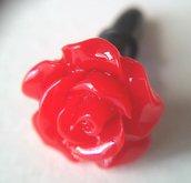 Tappo antipolvere per jack cuffie 3.5mm universale decorato con rosa rossa
