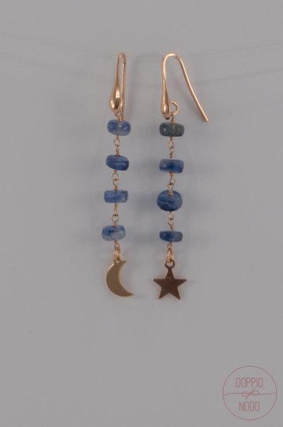 Orecchini pendenti in argento 925 placcato oro rosa e pietra dura