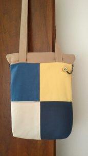 Borsa a spalla con fantasia  quadri colorata tipo patchwork