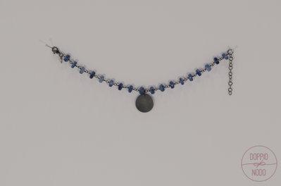 Bracciale rosario in argento 925 brunito e ciondolo
