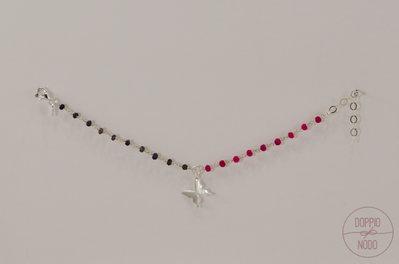 Bracciale rosario doppio colore in argento 925 e ciondolo