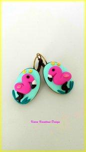 Orecchini fenicottero rosa in fimo, orecchini estivi, gioielli per l'estate, orecchini tropicali, orecchini esotici, orecchini divertenti