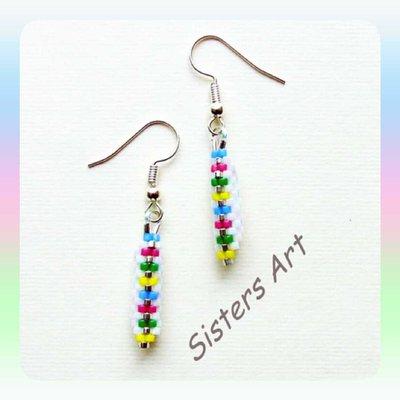 """Orecchini """"Tubino color"""" realizzati con perline Miyuki delica"""