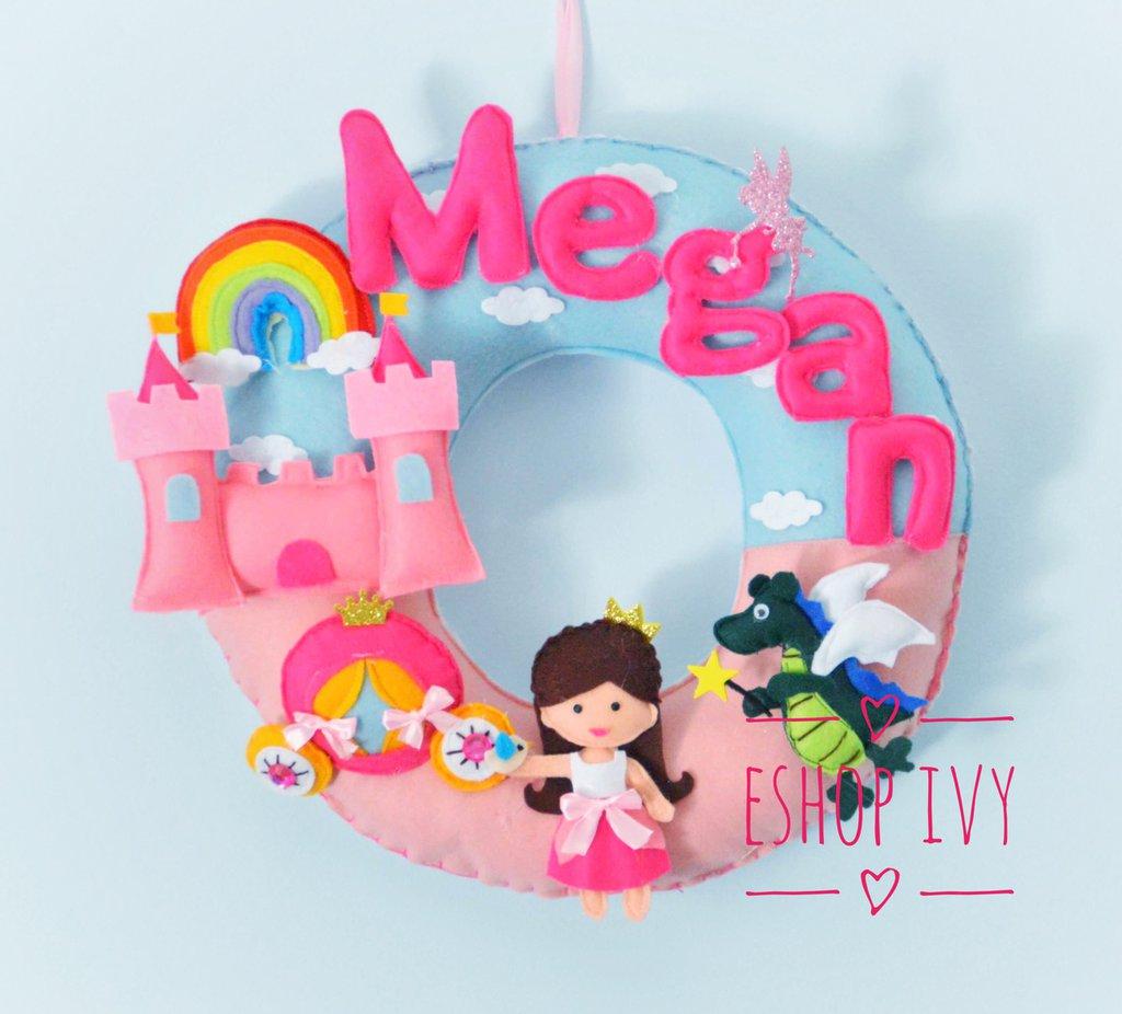 Fiocco nascita tema principessa castello carrozza arcobaleno tondo
