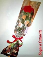 Rosa di lana all'uncinetto stelo flessibile - Crochet Rose