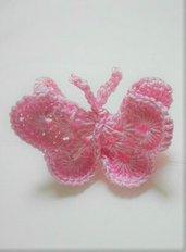 Farfalla all'uncinetto per bomboniera segnaposto e/o magnete