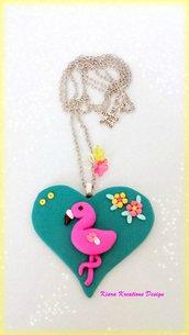 Collana con fenicottero rosa in fimo, collane estive, gioielli tropicali, gioielli estivi, gioielli alla moda, amante dei fenicotteri