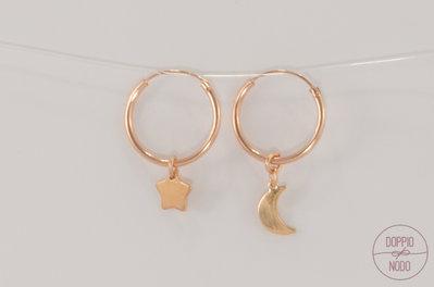 Orecchini cerchietto in argento 925 placcato oro rosa con ciondoli combinabili