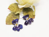 Orecchini con viole di campo, pasta di mais, porcellana fredda, orecchini con viole, orecchini con violette, orecchini primavera
