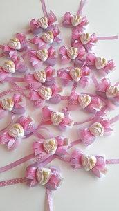 Comunione - Cresima - Battesimo - fiocco di confetti - Coccarda di confetti - chiudipacco - segnaposto papion di confetti