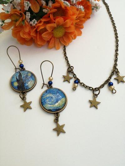 """Van Gogh parure di collana girocollo ed orecchini cammeo con """"notte stellata"""""""