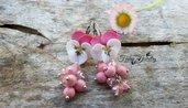 Orecchini viole del pensiero rosa pendenti bigiotteria gioielli fimo pasta polimerica idea regalo