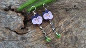 Orecchini viole del pensiero acciaio argento 925 fiori modellati a mano pasta polimerica fimo