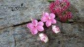 Orecchini fiore rosa perle porcellana decorate pendenti anallergici argento 925 idea regalo
