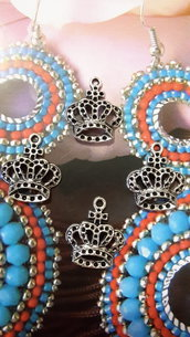 Charm ciondolo 'Corona regina' argento tibetano