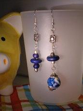 "Orecchini ""Blue&flowers"""