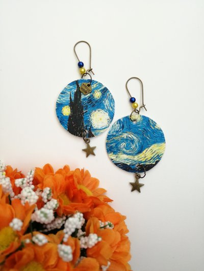 """Van gogh """"Notte stellata"""" orecchini di carta pendenti con ciondolino a forma di stella"""