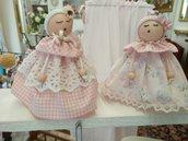 bamboline di stoffa pizzo e legno idea regalo,segnaposto,bomboniera