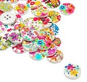 40 Bottoni Rotondi a 4 Fori con  fiori dipinti Scrapbooking 15mm