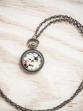 Collana ottone stile vintage con cabochon a orologio