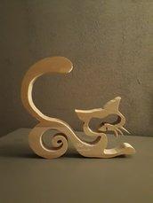 Gatto stilizzato in legno di faggio