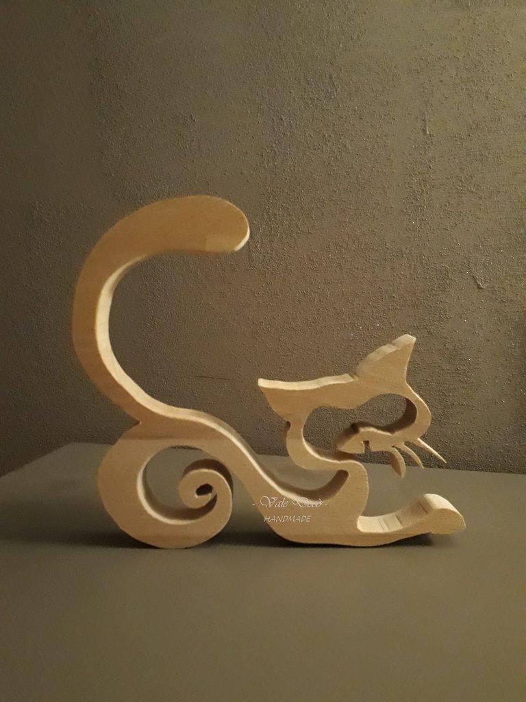 Gatto Stilizzato In Legno Di Faggio Per La Casa E Per Te Decora