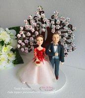 Cake topper sposi con albero di ciliegio