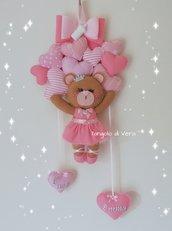 Fiocco nascita orsetta principessa ballerina con cuori