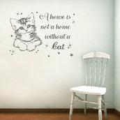 Adesivo gatto con frase e stelline
