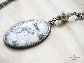 Collana con cabochon mappa antica Giappone e con perle di agata e ceramica
