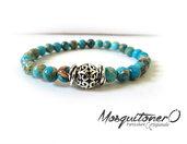 Bracciale da UOMO con perle in Pietra Di Lago,perline in pietra,per lui, regalo,con nodi in metallo e perla intarsiata, pietra turchese,