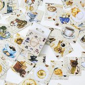 """LOTTO 45 stickers adesivi in carta """"Colazione"""" (4 cm circa)"""