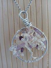 collana con albero della vita ametista e cristallo di rocca