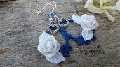 Orecchini rose bianche monachelle argento 925 modellate a mano bigiotteria gioielli idea regalo