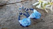 Orecchini rose sfumate blu monachelle argento 925 modellate a mano idea regalo fimo bigiotteria gioielli