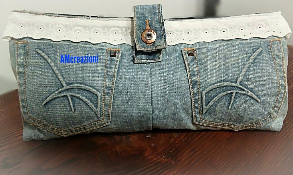 Pochette in jeans-portatrucco
