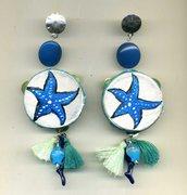 ORECCHINI pendenti con tamburello vero e stella marina turchese