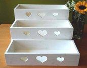 espositore a ripiani da banco con contenitori o senza, vari colori, su ordinazione, espositore per oggetti