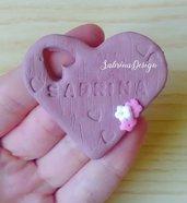 Bomboniera cuore, cuore finto legno, bomboniera battesimo, bomboniera comunione, bomboniere nascita, bomboniera legno, cuore nascita