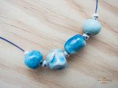 Collana handmade con perle in ceramica realizzate a mano